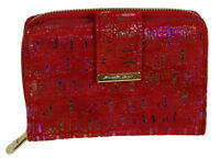 Damen Geldbörse Wildleder mit Reißverschluss und Riegel - Rot Metallic-Effekt