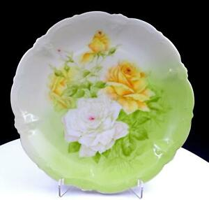 """P.T. GERMANY YELLOW & WHITE ROSES ON MINT GREEN 9 1/8"""" CABINET PLATE 1900s"""