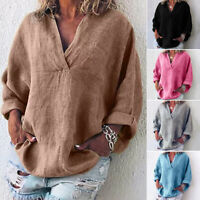 Women V Neck Casual Loose Long Sleeve Blouse Cotton Linen T Shirt Tops Summer US
