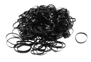 250x Black Elastic Rubber Bands For Hair Pony Braids Braiding Plaits Small Bands