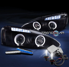 2004-2008 PONTIAC GRAND PRIX HALO LED PROJECTOR HEADLIGHTS BLACK W/BLUE DRL+HID