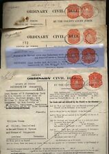 1937 NORTHERN IRELAND CIVIL BILL DUTY REVENUE stamps on 4 documents