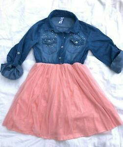 Justice jean shirt dress, pearl embellished, lace layer flare skirt PINK GIRL 10