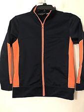"""Athletic Works"" Boys Navy And Orange Zip Front Jacket w Pockets Sz Medium 8 EUC"