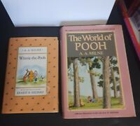 Winnie the Pooh by A.A. Milne lot of 2 HCDJ Book late 1980s 1st reprint edition