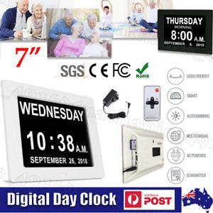 "7"" LED Clock Large Digital Wall Calendar Dementia Date Day Week Month Year Time"