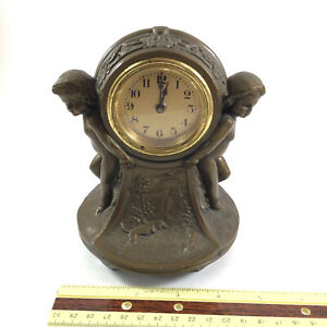 Antique Lux Clock Co Bronze Spelter Mantle Waterbury Conn USA (FOR PARTS)