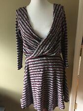 Free People Maverick Wine gray Striped Faux Wrap Plunge Knit Dress m 3/4 slv NEW