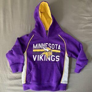 NFL Team Apparel Minnesota Vikings Kids Hoodie Hooded Sweatshirt Top Size 2T
