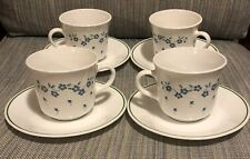 4X Vintage Corelle By Corning Flat Cup & Saucer Set Forget Me Not