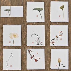 10Pcs Chinese Style Paper Greeting Card Birthday Wedding Party Invitation Random