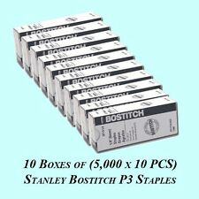 """10 Boxes of Stanley Bostitch P3 Rust-free Staples SP19 1/4"""" 5000 staples per box"""
