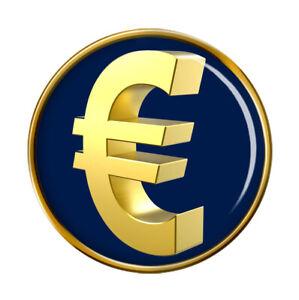 Gold Euro € Pin Badge