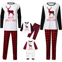 US Family Matching Adult Kids Christmas Pyjamas Xmas Nightwear Pajamas PJs Sets
