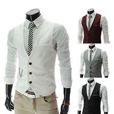 Mens Waistcoat Formal Business Suit Retro Vest Slim Wedding Fit Casual Coat Tops