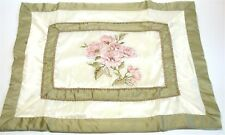 (1) Floral Pillow Sham ~ Rose Haven Pink Green Ivory ~ Standard **NEW**
