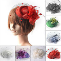 Women Ladies Wedding Party Cocktail Headband Feather Flower Mesh Hat Fascinator