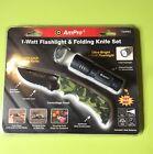 "AmPro 1 watt Flashlight & Folding Knife Set Camouflage Finish 8"" Liner-Lock"