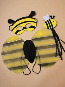 Children's Bumble Bee Wings Mask Wand Dress up 3Pc Set Kids Fancy dress