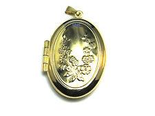 N Donna 9 Carati Oro Giallo Fiore In Rilievo OVALE CIONDOLO 30mm x 20mm 3,3 g Marchiato
