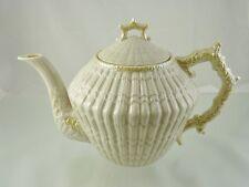 LIMPET YELLOW 1950'S TEA POT & LID BY BELLEEK IRELAND 4TH GREEN MARK