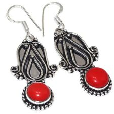 """Q9462 Red Coral Earrings 2.1"""""""