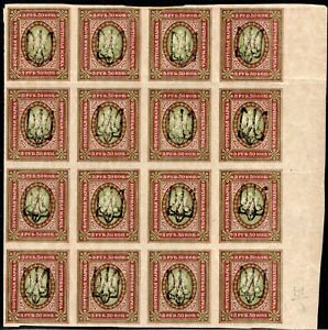 3/3.UKRAINE 1918.RUSSIA 3.5 RUBLES MNH BLOCK OF 16