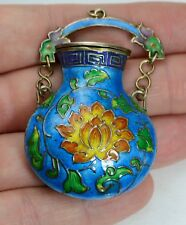 Antique CHINESE Solid Silver Gilt & Enamel Unusual HANGING Pot / Pendant / Box