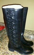 Womens Nature Black Genuine Leather Ridding Boots Size 8 NIB