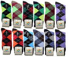 12 Pairs New Cotton Fashion Men Argyle Style Dress Socks Size 10-13 Multi Color