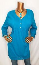 Collections Etc XXL Plus Top Cotton 1/2 Button Down Tunic 3/4 Sl Blue Embroider