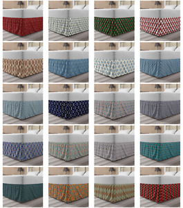 Ambesonne Geometric Scene Bedskirt Elastic Wrap Around Skirt Gathered Design