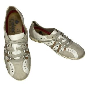 RIEKER Estelle Summer Trainer Style Shoes In Creme Leather Size 5 UK