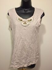BCBG MAX AZRIA Tan Beaded Collar Knit Top Blouse Size Small Sleeveless