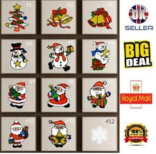 Christmas Removable Glass Window Silicon Stickers Clings Santa Xmas Home Decor