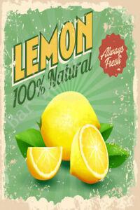 100% Natural Lemon Vintage Metal Tin Signs Retro Poster Farm Art Wall Decor