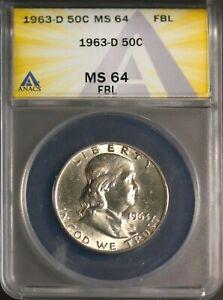 1963-D 50C Silver Franklin Head Half-dollar MS 64 FBL ANACS # 7230277 + Bonus