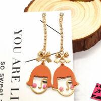 Hot Betsey Johnson Orange Straight Bangs Girl Chain Crystal Stand Earrings Gift