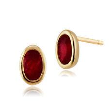 Orecchini di lusso con gemme rosse ovale in oro giallo