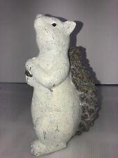 Ceramic Squirrel w/Acorn Ceramic Figurine Pinecone-shaped Tail Glittery White