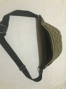 gucci banana bag-Small Brown Beige Leather Trim with GG Logo