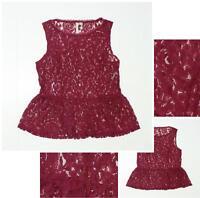 NEW Lauren Conrad Women's Sheer Lace Peplum Blouse Top Tank Top Burgundy Small