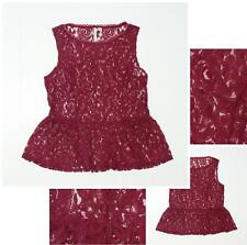 nEW Lauren Conrad Women's Sheer Lace Peplum Blouse Top Tank Top Burgundy Small