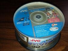 JVC DVD-R 4.7GB 16x Speed 120min Printable/Recordable Glossy Discs  PK 30