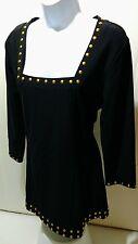 Boston Proper Black With Gold Studs Dress Career Tunic Mini Club Sheath Dress M