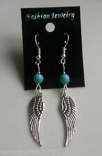 Hand made turquoise gemstone silver tone guardian angel wing earrings dangle