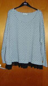 89th & Madison Plus Size L/S Scoop Neck Lace Trim Top XXXL UK26-28 GreyMix BNWoT
