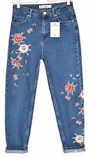 Topshop MOM High Waisted EMBROIDERED Blue Tapered Crop Jeans Size 8 W26 L30
