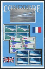 CONCORDE POSTCARD * 3 BLOCKS OF 4 OF 1969 UK CONCORDE STAMPS >