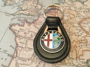 ALFA ROMEO ENAMEL Quality Black Real Leather Keyring MITO GIULIA SPIDER